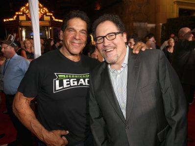 "HOLLYWOOD, CA - OCTOBER 10: Actor Lou Ferrigno (L) and Director/producer Jon Favreau at The World Premiere of Marvel Studios' ""Thor: Ragnarok"" at the El Capitan Theatre on October 10, 2017 in Hollywood, California. (Photo by Jesse Grant/Getty Images for Disney) *** Local Caption *** Lou Ferrigno; Jon Favreau"