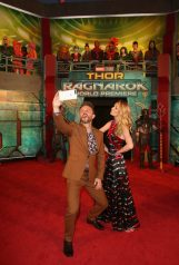 "HOLLYWOOD, CA - OCTOBER 10: Actors Chris Hardwick (L) and Lydia Hearst at The World Premiere of Marvel Studios' ""Thor: Ragnarok"" at the El Capitan Theatre on October 10, 2017 in Hollywood, California. (Photo by Jesse Grant/Getty Images for Disney) *** Local Caption *** Chris Hardwick; Lydia Hearst"