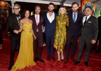 "HOLLYWOOD, CA - OCTOBER 10: (L-R) Actors Jeff Goldblum, Tessa Thompson, Director Taika Waititi, actors Chris Hemsworth, Cate Blanchett, Tom Hiddleston and Mark Ruffalo at The World Premiere of Marvel Studios' ""Thor: Ragnarok"" at the El Capitan Theatre on October 10, 2017 in Hollywood, California. (Photo by Alberto E. Rodriguez/Getty Images for Disney) *** Local Caption *** Jeff Goldblum; Tessa Thompson; Taika Waititi; Chris Hemsworth; Cate Blanchett; Tom Hiddleston; Mark Ruffalo"