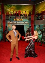 """HOLLYWOOD, CA - OCTOBER 10: Actors Chris Hardwick (L) and Lydia Hearst at The World Premiere of Marvel Studios' """"Thor: Ragnarok"""" at the El Capitan Theatre on October 10, 2017 in Hollywood, California. (Photo by Jesse Grant/Getty Images for Disney) *** Local Caption *** Chris Hardwick; Lydia Hearst"""