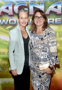 """HOLLYWOOD, CA - OCTOBER 10: Executive producer Victoria Alonso (R) and guest at The World Premiere of Marvel Studios' """"Thor: Ragnarok"""" at the El Capitan Theatre on October 10, 2017 in Hollywood, California. (Photo by Alberto E. Rodriguez/Getty Images for Disney) *** Local Caption *** Victoria Alonso"""