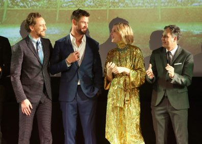 "HOLLYWOOD, CA - OCTOBER 10: (L-R) Actors Tom Hiddleston, Chris Hemsworth, Cate Blanchett and Mark Ruffalo at The World Premiere of Marvel Studios' ""Thor: Ragnarok"" at the El Capitan Theatre on October 10, 2017 in Hollywood, California. (Photo by Jesse Grant/Getty Images for Disney) *** Local Caption *** Tom Hiddleston; Chris Hemsworth; Cate Blanchett; Mark Ruffalo"