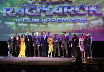 "HOLLYWOOD, CA - OCTOBER 10: (L-R) Executive producer Louis D'Esposito, Director Taika Waititi, actors Tessa Thompson, Jeff Goldblum, Tom Hiddleston, Chris Hemsworth, Cate Blanchett, Mark Ruffalo, Karl Urban, Rachel House, Executive producer Victoria Alonso and Producer Kevin Feige at The World Premiere of Marvel Studios' ""Thor: Ragnarok"" at the El Capitan Theatre on October 10, 2017 in Hollywood, California. (Photo by Jesse Grant/Getty Images for Disney) *** Local Caption *** Louis D'Esposito; Taika Waititi; Tessa Thompson; Jeff Goldblum; Tom Hiddleston; Chris Hemsworth; Cate Blanchett; Mark Ruffalo; Karl Urban; Rachel House; Victoria Alonso; Kevin Feige"