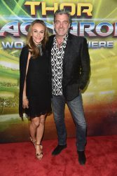 """HOLLYWOOD, CA - OCTOBER 10: Elisabetta Caraccia (L) and actor Ray Stevenson at The World Premiere of Marvel Studios' """"Thor: Ragnarok"""" at the El Capitan Theatre on October 10, 2017 in Hollywood, California. (Photo by Alberto E. Rodriguez/Getty Images for Disney) *** Local Caption *** Ray Stevenson; Elisabetta Caraccia"""