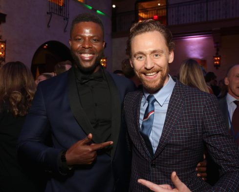 """HOLLYWOOD, CA - OCTOBER 10: Actors Winston Duke (L) and Tom Hiddleston at The World Premiere of Marvel Studios' """"Thor: Ragnarok"""" at the El Capitan Theatre on October 10, 2017 in Hollywood, California. (Photo by Jesse Grant/Getty Images for Disney) *** Local Caption *** Winston Duke; Tom Hiddleston"""