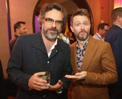 """HOLLYWOOD, CA - OCTOBER 10: Actors Jemaine Clement (L) and Chris Hardwick at The World Premiere of Marvel Studios' """"Thor: Ragnarok"""" at the El Capitan Theatre on October 10, 2017 in Hollywood, California. (Photo by Jesse Grant/Getty Images for Disney) *** Local Caption *** Jemaine Clement; Chris Hardwick"""
