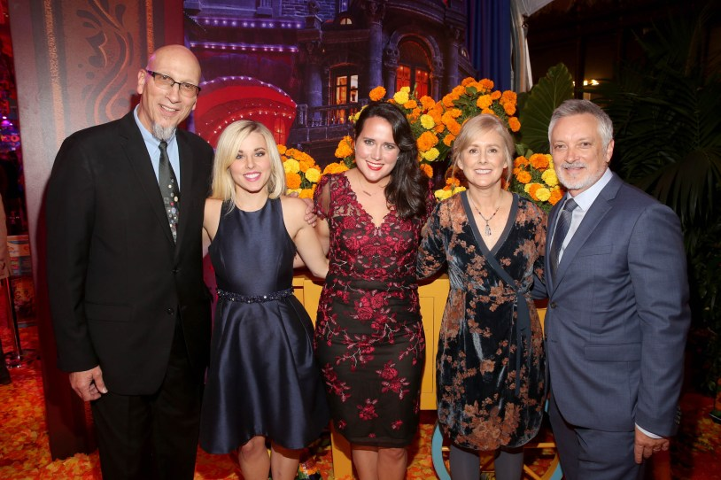 """HOLLYWOOD, CA - NOVEMBER 08: (L-R) Producer Roy Conli, Songwriters Elyssa Samsel and Kate Anderson, Director Stevie Wermers-Skelton, and Director Kevin Deters of """"Olafís Frozen Adventure"""" at the U.S. Premiere of Disney-Pixarís """"Coco"""" at the El Capitan Theatre on November 8, 2017, in Hollywood, California. """"Olafís Frozen Adventure"""" featurette opens in front of Disney-Pixarís original feature ìCocoî for a limited time. (Photo by Jesse Grant/Getty Images for Disney) *** Local Caption *** Roy Conli; Stevie Wermers-Skelton; Kevin Deters; Elyssa Samsel; Kate Anderson"""