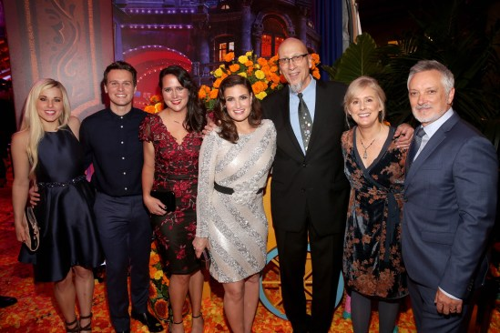 "HOLLYWOOD, CA - NOVEMBER 08: (L-R) Songwriter Elyssa Samsel, Actor Jonathan Groff, Songwriter Kate Anderson, Actor Idina Menzel, Producer Roy Conli, and Directors Stevie Wermers-Skelton and Kevin Deters of ""Olafís Frozen Adventure"" at the U.S. Premiere of Disney-Pixarís ""Coco"" at the El Capitan Theatre on November 8, 2017, in Hollywood, California. ""Olafís Frozen Adventure"" featurette opens in front of Disney-Pixarís original feature ìCocoî for a limited time. (Photo by Jesse Grant/Getty Images for Disney) *** Local Caption *** Roy Conli; Stevie Wermers-Skelton; Kevin Deters; Elyssa Samsel; Kate Anderson; Jonathan Groff; Idina Menzel"