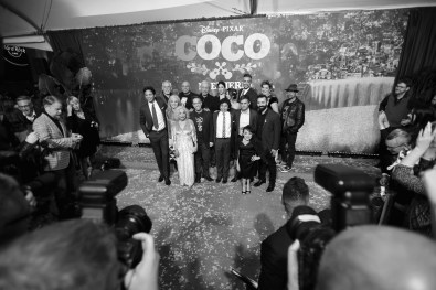 """HOLLYWOOD, CA - NOVEMBER 08: (EDITORS NOTE: Image has been converted to black and white) (L-R) Actors Benjamin Bratt and John Ratzenberger, Producer Darla K. Anderson, Actors Renee Victor and Herbert Siguenza, Director Lee Unkrich, Actors Edward James Olmos, Natalia Cordova-Buckley, Anthony Gonzalez, Alanna Ubach, Jaime Camil, Gael Garcia Bernal, Selene Luna, and Blanca Araceli, Co-director/Screenwriter Adrian Molina, and Actor Lombardo Boyar at the U.S. Premiere of Disney-Pixarís """"Coco"""" at the El Capitan Theatre on November 8, 2017, in Hollywood, California. (Photo by Charley Gallay/Getty Images for Disney) *** Local Caption *** Benjamin Bratt; John Ratzenberger; Darla K. Anderson; Renee Victor; Herbert Siguenza; Lee Unkrich; Edward James Olmos; Natalia Cordova-Buckley; Anthony Gonzalez; Alanna Ubach; Jaime Camil; Adrian Molina; Jaime Camil; Gael Garcia Bernal; Selene Luna; Blanca Araceli; Lombardo Boyar"""