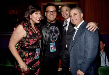 "HOLLYWOOD, CA - NOVEMBER 08: (L-R) Songwriters Kristen Anderson-Lopez, Robert Lopez, President, Marketing, The Walt Disney Studios, Ricky Strauss and Walt Disney Studios President, Alan Bergman at the U.S. Premiere of Disney-Pixarís ""Coco"" at the El Capitan Theatre on November 8, 2017, in Hollywood, California. (Photo by Alberto E. Rodriguez/Getty Images for Disney) *** Local Caption *** Kristen Anderson-Lopez; Robert Lopez; Ricky Strauss; Alan Bergman"