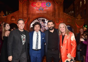 "HOLLYWOOD, CA - NOVEMBER 08: (L-R) Director Lee Unkrich, Actor Anthony Gonzalez, Co-director/Screenwriter Adrian Molina, and Producer Darla K. Anderson at the U.S. Premiere of Disney-Pixarís ""Coco"" at the El Capitan Theatre on November 8, 2017, in Hollywood, California. (Photo by Alberto E. Rodriguez/Getty Images for Disney) *** Local Caption *** Lee Unkrich; Anthony Gonzalez; Adrian Molina; Darla K. Anderson"