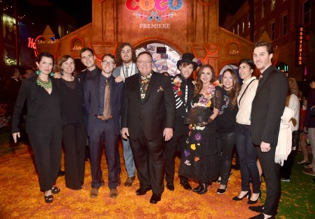 "HOLLYWOOD, CA - NOVEMBER 08: Executive producer John Lasseter (C) and guests at the U.S. Premiere of Disney-Pixarís ""Coco"" at the El Capitan Theatre on November 8, 2017, in Hollywood, California. (Photo by Alberto E. Rodriguez/Getty Images for Disney) *** Local Caption *** John Lasseter"