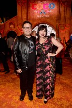 """HOLLYWOOD, CA - NOVEMBER 08: Songwriters Robert Lopez (L) and Kristen Anderson-Lopez at the U.S. Premiere of Disney-Pixarís """"Coco"""" at the El Capitan Theatre on November 8, 2017, in Hollywood, California. (Photo by Alberto E. Rodriguez/Getty Images for Disney) *** Local Caption *** Robert Lopez; Kristen Anderson-Lopez"""