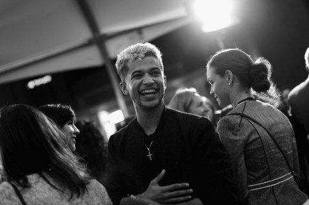 "HOLLYWOOD, CA - NOVEMBER 08: (EDITORS NOTE: Image has been converted to black and white) Singer/actor Jordan Fisher at the U.S. Premiere of Disney-Pixarís ""Coco"" at the El Capitan Theatre on November 8, 2017, in Hollywood, California. (Photo by Charley Gallay/Getty Images for Disney) *** Local Caption *** Jordan Fisher"