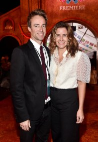 """HOLLYWOOD, CA - NOVEMBER 08: Producer Lindsey Collins (R) and Seth Murray at the U.S. Premiere of Disney-Pixarís """"Coco"""" at the El Capitan Theatre on November 8, 2017, in Hollywood, California. (Photo by Alberto E. Rodriguez/Getty Images for Disney) *** Local Caption *** Lindsey Collins; Seth Murray"""