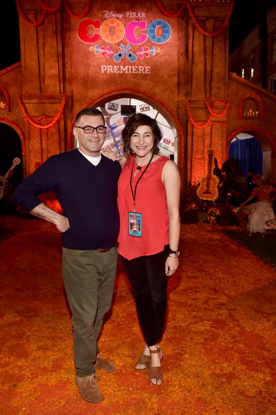 """HOLLYWOOD, CA - NOVEMBER 08: Director Meher Gourjian (L) and Producer Katherine Sarafian at the U.S. Premiere of Disney-Pixarís """"Coco"""" at the El Capitan Theatre on November 8, 2017, in Hollywood, California. (Photo by Alberto E. Rodriguez/Getty Images for Disney) *** Local Caption *** Katherine Sarafian; Meher Gourjian"""