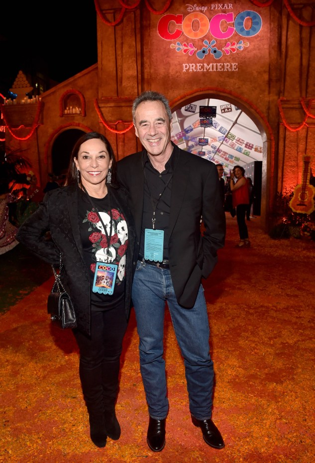"""HOLLYWOOD, CA - NOVEMBER 08: General Manager of Pixar Jim Morris (R) and Gail Morris at the U.S. Premiere of Disney-Pixarís """"Coco"""" at the El Capitan Theatre on November 8, 2017, in Hollywood, California. (Photo by Alberto E. Rodriguez/Getty Images for Disney) *** Local Caption *** Jim Morris; Gail Morris"""