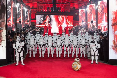 The European Premiere of Star Wars: The Last Jedi attended by HRH Duke of Cambridge and HRH Prince Harry at the Royal Albert Hall in London, UK on Tuesday 12th December 2017.