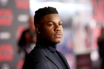 LOS ANGELES, CA - DECEMBER 09: Actor John Boyega at Star Wars: The Last Jedi Premiere at The Shrine Auditorium on December 9, 2017 in Los Angeles, California. (Photo by Jesse Grant/Getty Images for Disney) *** Local Caption *** John Boyega