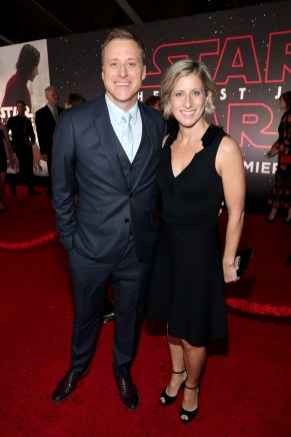 LOS ANGELES, CA - DECEMBER 09: Alan Tudyk (L) and Charissa Barton at Star Wars: The Last Jedi Premiere at The Shrine Auditorium on December 9, 2017 in Los Angeles, California. (Photo by Rich Polk/Getty Images for Disney) *** Local Caption *** Alan Tudyk; Charissa Barton