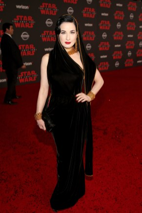 LOS ANGELES, CA - DECEMBER 09: Dita Von Teese at Star Wars: The Last Jedi Premiere at The Shrine Auditorium on December 9, 2017 in Los Angeles, California. (Photo by Jesse Grant/Getty Images for Disney) *** Local Caption *** Dita Von Teese
