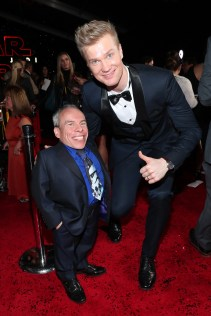 LOS ANGELES, CA - DECEMBER 09: Warwick Davis (L) and Actor Joonas Suotamo at Star Wars: The Last Jedi Premiere at The Shrine Auditorium on December 9, 2017 in Los Angeles, California. (Photo by Rich Polk/Getty Images for Disney) *** Local Caption *** Warwick Davis; Joonas Suotamo