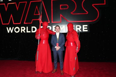 LOS ANGELES, CA - DECEMBER 09: Elijah Wood (C) with the Praetorian Guard at Star Wars: The Last Jedi Premiere at The Shrine Auditorium on December 9, 2017 in Los Angeles, California. (Photo by Rich Polk/Getty Images for Disney) *** Local Caption *** Elijah Wood
