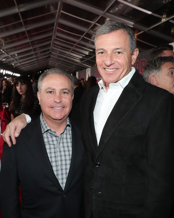 LOS ANGELES, CA - DECEMBER 09: Walt Disney Studios President, Alan Bergman (L) and The Walt Disney Company Chairman and CEO, Bob Iger at Star Wars: The Last Jedi Premiere at The Shrine Auditorium on December 9, 2017 in Los Angeles, California. (Photo by Rich Polk/Getty Images for Disney) *** Local Caption *** Alan Bergman; Bob Iger