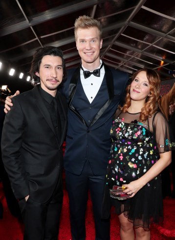 LOS ANGELES, CA - DECEMBER 09: (L-R) Actors Adam Driver and Joonas Suotamo, and Milla Pohjasvaara at Star Wars: The Last Jedi Premiere at The Shrine Auditorium on December 9, 2017 in Los Angeles, California. (Photo by Rich Polk/Getty Images for Disney) *** Local Caption *** Adam Driver; Joonas Suotamo; Milla Pohjasvaara