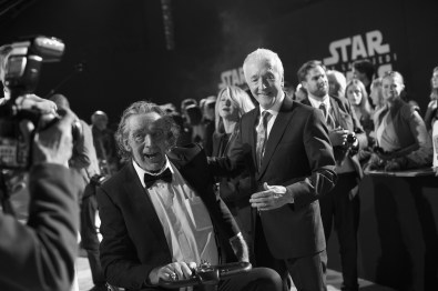 LOS ANGELES, CA - DECEMBER 09: (EDITOR NOTE: This image has been shot in black and white) Peter Mayhew (L) and Actor Anthony Daniels at Star Wars: The Last Jedi Premiere at The Shrine Auditorium on December 9, 2017 in Los Angeles, California. (Photo by Charley Gallay/Getty Images for for Disney) *** Local Caption *** Peter Mayhew; Anthony Daniels