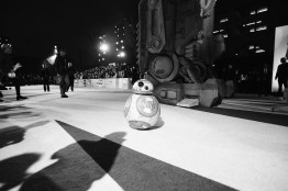 LOS ANGELES, CA - DECEMBER 09: (EDITOR NOTE: This image has been shot in black and white) BB-8 at Star Wars: The Last Jedi Premiere at The Shrine Auditorium on December 9, 2017 in Los Angeles, California. (Photo by Charley Gallay/Getty Images for for Disney) *** Local Caption *** BB-8