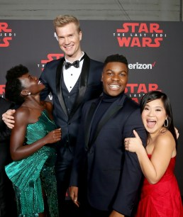 LOS ANGELES, CA - DECEMBER 09: (L-R) Actors Lupita Nyong'o, Joonas Suotamo, John Boyega, and Kelly Marie Tran at Star Wars: The Last Jedi Premiere at The Shrine Auditorium on December 9, 2017 in Los Angeles, California. (Photo by Jesse Grant/Getty Images for Disney) *** Local Caption *** Lupita Nyong'o; Joonas Suotamo; John Boyega; Kelly Marie Tran