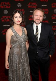 LOS ANGELES, CA - DECEMBER 09: Karina Longworth (L) and Writer/Director Rian Johnson at Star Wars: The Last Jedi Premiere at The Shrine Auditorium on December 9, 2017 in Los Angeles, California. (Photo by Jesse Grant/Getty Images for Disney) *** Local Caption *** Rian Johnson; Karina Longworth