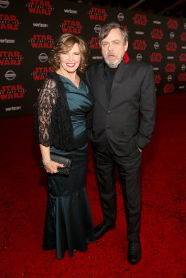 LOS ANGELES, CA - DECEMBER 09: Marilou York (L) and Actor Mark Hamill at Star Wars: The Last Jedi Premiere at The Shrine Auditorium on December 9, 2017 in Los Angeles, California. (Photo by Jesse Grant/Getty Images for Disney) *** Local Caption *** Marilou York; Mark Hamill