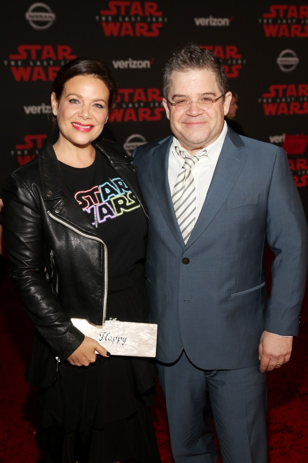 LOS ANGELES, CA - DECEMBER 09: Meredith Salenger (L) and Patton Oswalt at Star Wars: The Last Jedi Premiere at The Shrine Auditorium on December 9, 2017 in Los Angeles, California. (Photo by Jesse Grant/Getty Images for Disney) *** Local Caption *** Patton Oswalt; Meredith Salenger