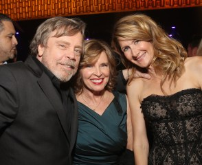 LOS ANGELES, CA - DECEMBER 09: (L-R) Actor Mark Hamill, Marilou York, and Actor Laura Dern at Star Wars: The Last Jedi Premiere at The Shrine Auditorium on December 9, 2017 in Los Angeles, California. (Photo by Jesse Grant/Getty Images for Disney) *** Local Caption *** Mark Hamill; Marilou York; Laura Dern