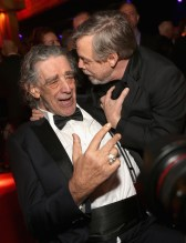 LOS ANGELES, CA - DECEMBER 09: Peter Mayhew (L) and Actor Mark Hamill at Star Wars: The Last Jedi Premiere at The Shrine Auditorium on December 9, 2017 in Los Angeles, California. (Photo by Jesse Grant/Getty Images for Disney) *** Local Caption *** Peter Mayhew; Mark Hamill