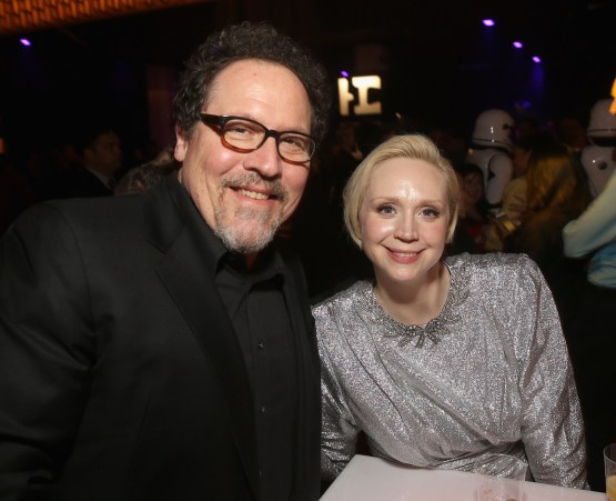 LOS ANGELES, CA - DECEMBER 09: Actors Jon Favreau (L) and Gwendoline Christie at Star Wars: The Last Jedi Premiere at The Shrine Auditorium on December 9, 2017 in Los Angeles, California. (Photo by Jesse Grant/Getty Images for Disney) *** Local Caption *** Gwendoline Christie; Jon Favreau