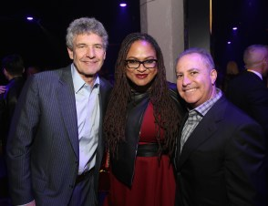 LOS ANGELES, CA - DECEMBER 09: (L-R) Chairman, The Walt Disney Studios, Alan Horn, Director Ava DuVernay, and Walt Disney Studios President, Alan Bergman at Star Wars: The Last Jedi Premiere at The Shrine Auditorium on December 9, 2017 in Los Angeles, California. (Photo by Jesse Grant/Getty Images for Disney) *** Local Caption *** Alan Horn; Ava DuVernay; Alan Bergman