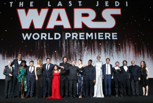 LOS ANGELES, CA - DECEMBER 09: (L-R) Actors Anthony Daniels, Joonas Suotamo, Lupita Nyong'o, Andy Serkis, Laura Dern, Benicio del Toro, Kelly Marie Tran, Adam Driver, Mark Hamill, Daisy Ridley, John Boyega, Gwendoline Christie, Domhnall Gleeson, Writer/Director Rian Johnson, Producer Ram Bergman, Composer John Williams and Producer Kathleen Kennedy at Star Wars: The Last Jedi Premiere at The Shrine Auditorium on December 9, 2017 in Los Angeles, California. (Photo by Jesse Grant/Getty Images for Disney) *** Local Caption *** Anthony Daniels; Joonas Suotamo; Lupita Nyong'o; Andy Serkis; Laura Dern; Benicio del Toro; Kelly Marie Tran; Adam Driver; Mark Hamill; Daisy Ridley; John Boyega; Gwendoline Christie; Domhnall Gleeson; Rian Johnson; Ram Bergman; John Williams; Kathleen Kennedy