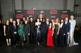 LOS ANGELES, CA - DECEMBER 09: (L-R) Producer Kathleen Kennedy, Composer John Williams, Writer/Director Rian Johnson, actors Anthony Daniels, Lupita Nyong'o, Benicio del Toro, Mark Hamill, The Walt Disney Company Chairman and CEO, Bob Iger, actors Adam Driver, Daisy Ridley, Joonas Suotamo, John Boyega, Chairman, The Walt Disney Studios, Alan Horn, actors Kelly Marie Tran, Andy Serkis, Laura Dern, Producer Ram Bergman, actors Domhnall Gleeson and Gwendoline Christie at Star Wars: The Last Jedi Premiere at The Shrine Auditorium on December 9, 2017 in Los Angeles, California. (Photo by Jesse Grant/Getty Images for Disney) *** Local Caption *** Kathleen Kennedy; John Williams; Rian Johnson; Anthony Daniels; Lupita Nyong'o; Benicio del Toro; Mark Hamill; Bob Iger; Adam Driver; Daisy Ridley; Joonas Suotamo; John Boyega; Alan Horn; Kelly Marie Tran; Andy Serkis; Laura Dern; Ram Bergman; Domhnall Gleeson; Gwendoline Christie