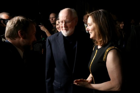 LOS ANGELES, CA - DECEMBER 09: (L-R) Writer/Director Rian Johnson, Composer John Williams and Producer Kathleen Kennedy at Star Wars: The Last Jedi Premiere at The Shrine Auditorium on December 9, 2017 in Los Angeles, California. (Photo by Jesse Grant/Getty Images for Disney) *** Local Caption *** Rian Johnson; John Williams; Kathleen Kennedy