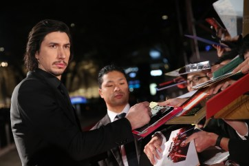 TOKYO, JAPAN - DECEMBER 06: Adam Driver signs autograph for fans during the 'Star Wars: The Last Jedi' Japan Premiere & Red Carpet at Roppongi Hills on December 6, 2017 in Tokyo, Japan. (Photo by Christopher Jue/Getty Images for Disney) *** Local Caption *** Adam Driver