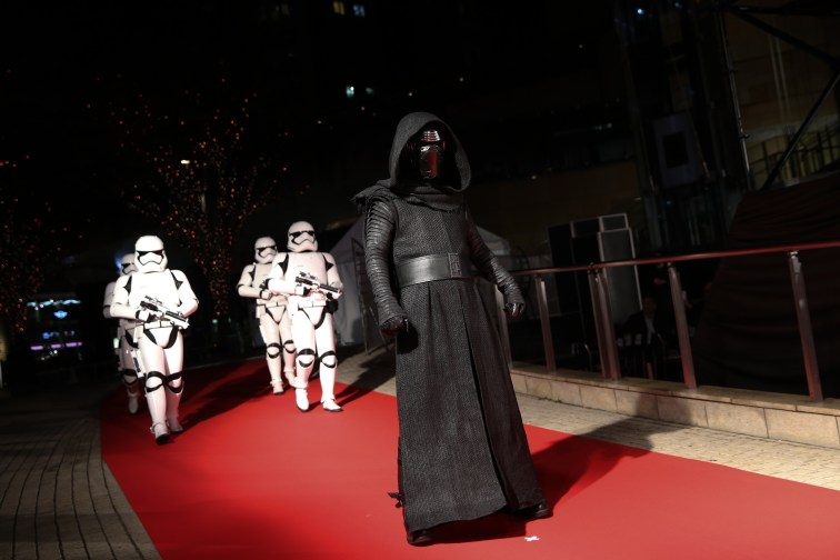TOKYO, JAPAN - DECEMBER 06: Kylo Ren leads stormtroopers during the 'Star Wars: The Last Jedi' Japan Premiere & Red Carpet at Roppongi Hills on December 6, 2017 in Tokyo, Japan. (Photo by Christopher Jue/Getty Images for Disney) *** Local Caption *** Kylo Ren; stormtrooper
