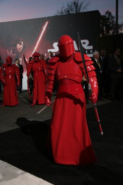 A Praetorian guard arrives on the red carpet for the world premiere of LucasfilmÕs Star Wars: The Last Jedi at the Shrine Auditorium in Los Angeles, December 9, 2017. (Photo: Alex J. Berliner / ABImages ).