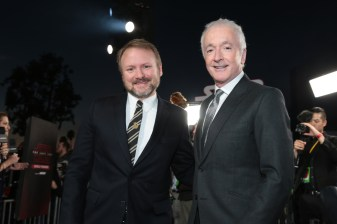 Director Rian Johnson and Anthony Daniels arrive on the red carpet for the world premiere of LucasfilmÕs Star Wars: The Last Jedi at the Shrine Auditorium in Los Angeles, December 9, 2017..(Photo: Alex J. Berliner / ABImages )
