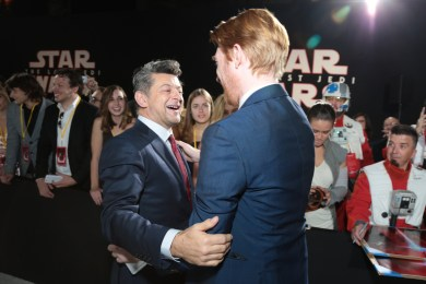 Andy Serkis and Domhnall Gleeson share a moment on the red carpet for the world premiere of LucasfilmÕs Star Wars: The Last Jedi at the Shrine Auditorium in Los Angeles, December 9, 2017..(Photo: Alex J. Berliner / ABImages )
