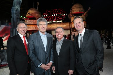 Ricky Strauss, Alan Horn, Alan Bergman and Sean Bailey arrive on the red carpet for the world premiere of LucasfilmÕs Star Wars: The Last Jedi at the Shrine Auditorium in Los Angeles, December 9, 2017..(Photo: Alex J. Berliner / ABImages )