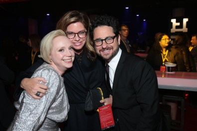 Gwendoline Christie, Katie McGrath and J.J. Abrams pose together at the after party for the world premiere of LucasfilmÕs Star Wars: The Last Jedi at the Shrine Auditorium in Los Angeles, December 9, 2017..(Photo: Alex J. Berliner / ABImages ).