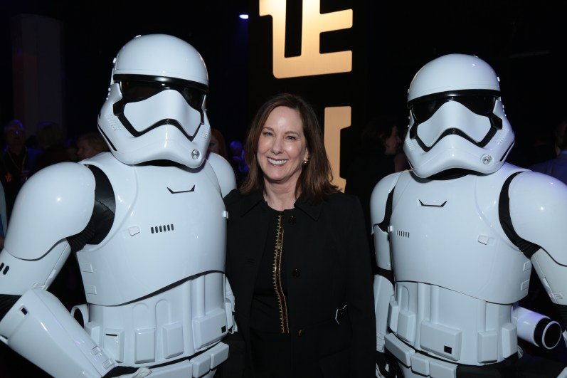 Kathleen Kennedy poses with Storm Troopers at the after party for the world premiere of LucasfilmÕs Star Wars: The Last Jedi at the Shrine Auditorium in Los Angeles, December 9, 2017..(Photo: Alex J. Berliner / ABImages ).